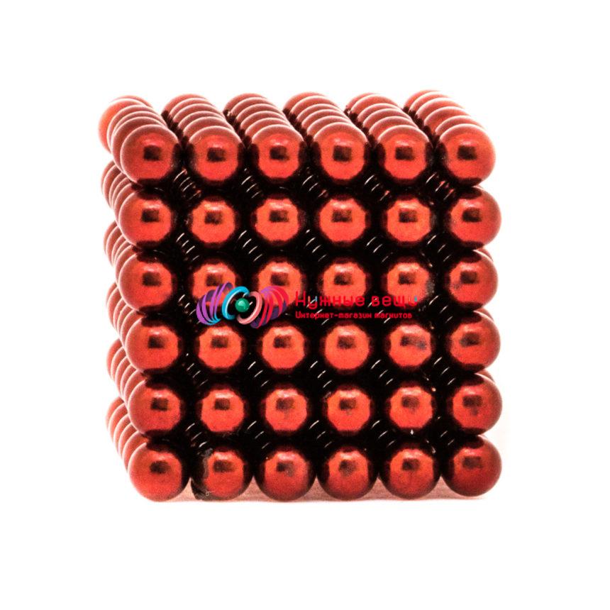 Неокуб 5 миллиметров. 216 шариков. Красного цвета.