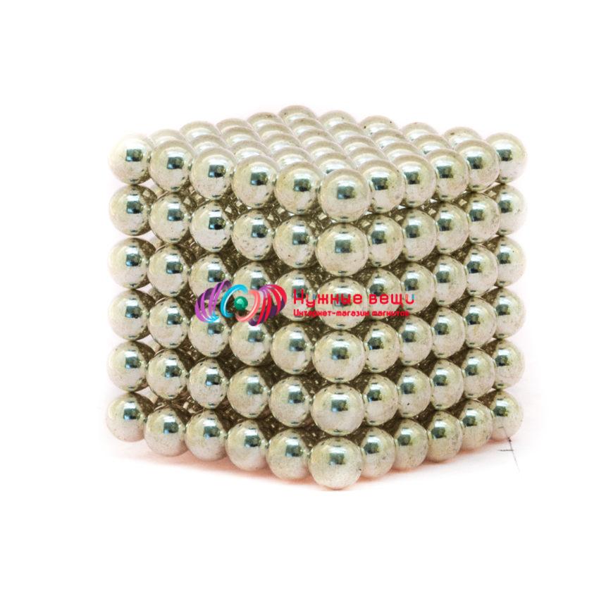 Неокуб 5 миллиметров. 216 шариков. Серебряного цвета.