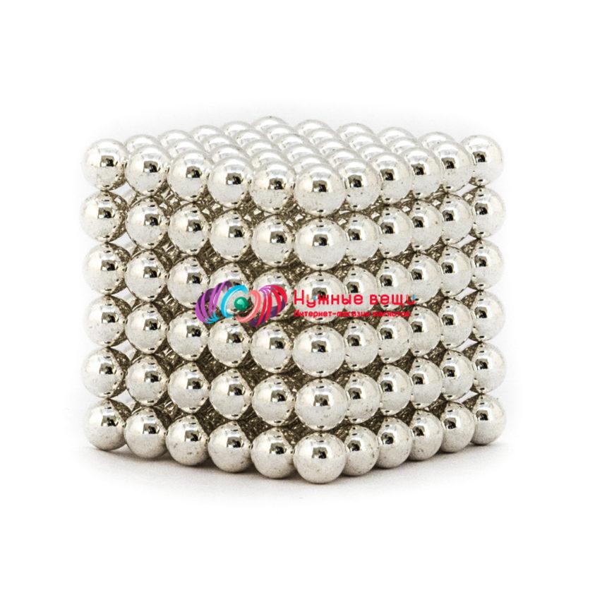 Неокуб 6 миллиметров. 216 шариков. Серебряного цвета