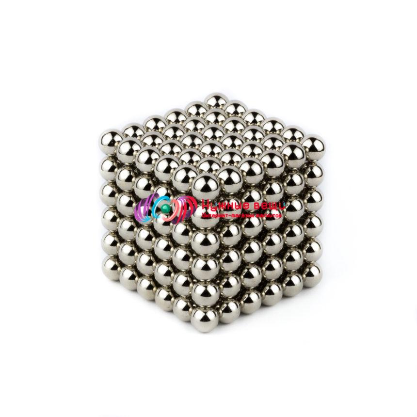 Неокуб 7 миллиметров. 216 шариков. Серебряного цвета.